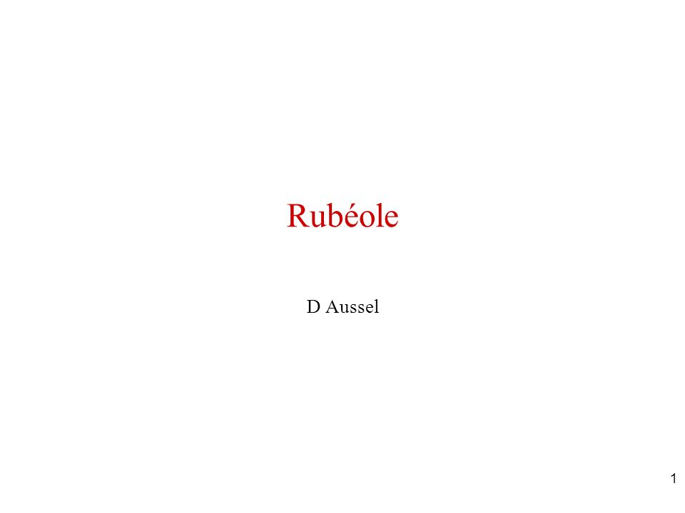 Rubéole D Aussel