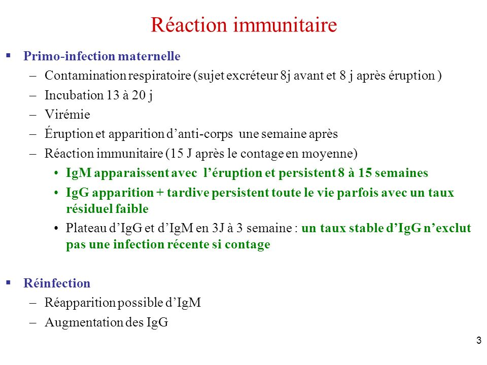 Réaction immunitaire Primo-infection maternelle