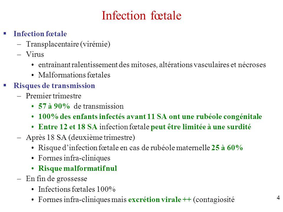 Infection fœtale Infection fœtale Transplacentaire (virémie) Virus