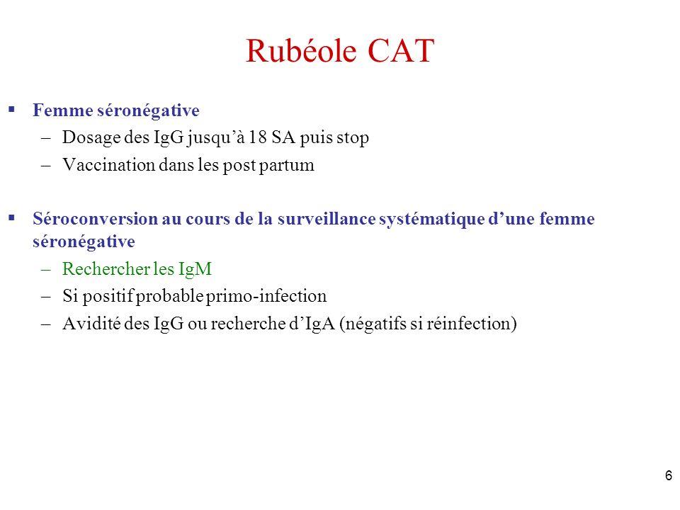 Rubéole CAT Femme séronégative Dosage des IgG jusqu'à 18 SA puis stop