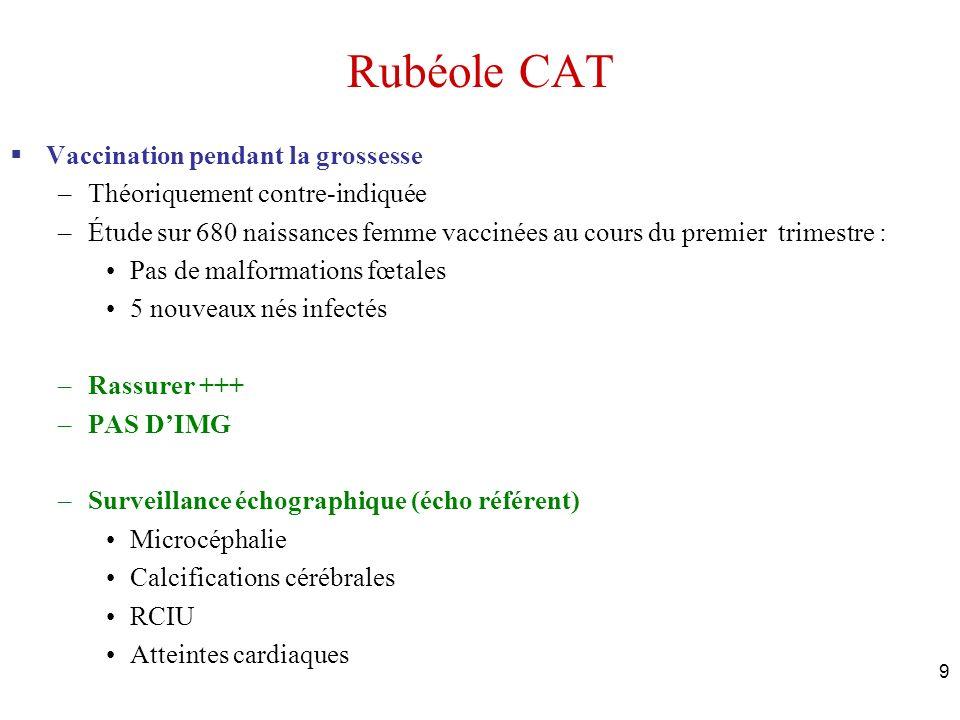 Rubéole CAT Vaccination pendant la grossesse