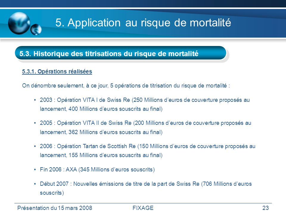 5. Application au risque de mortalité