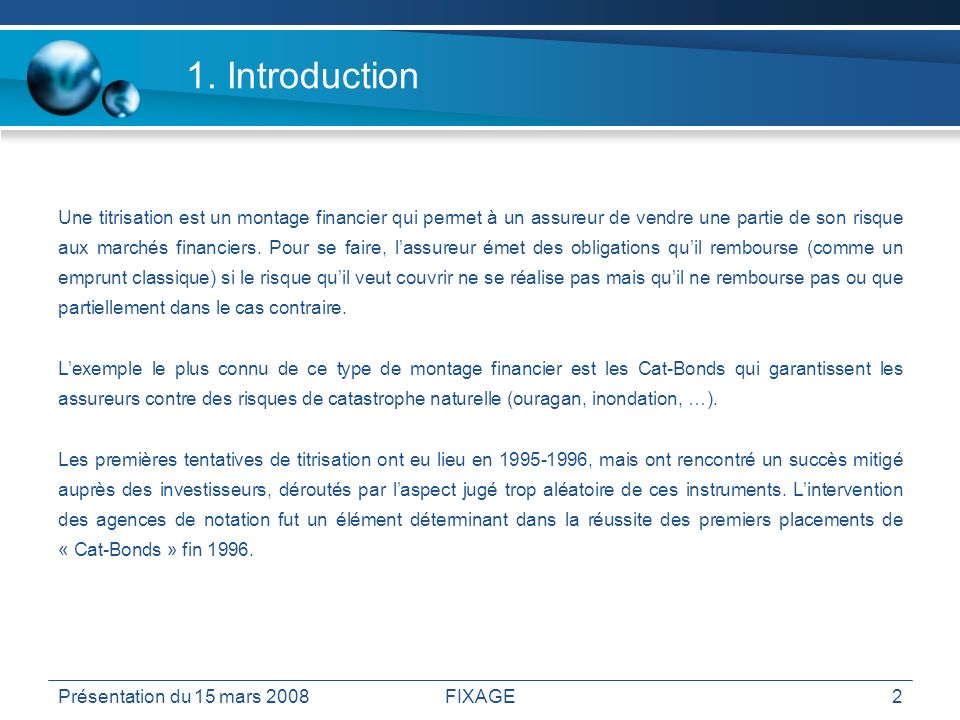 Sommaire 1. Introduction 2. Pourquoi titriser 3. Les intervenants