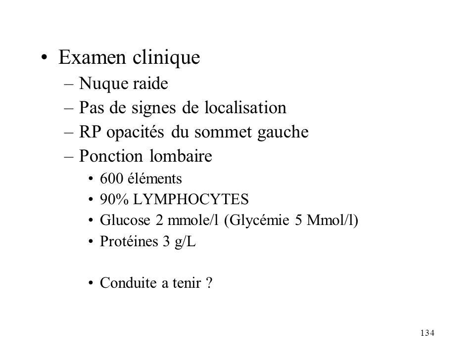 Examen clinique Nuque raide Pas de signes de localisation