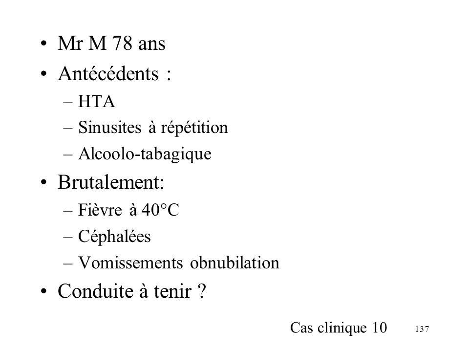 Mr M 78 ans Antécédents : Brutalement: Conduite à tenir HTA