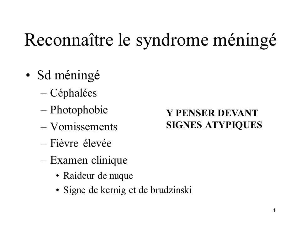 Reconnaître le syndrome méningé