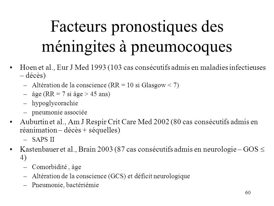 Facteurs pronostiques des méningites à pneumocoques