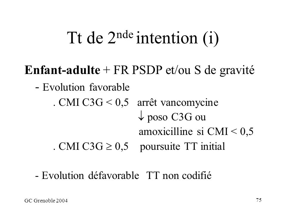 Tt de 2nde intention (i) Enfant-adulte + FR PSDP et/ou S de gravité