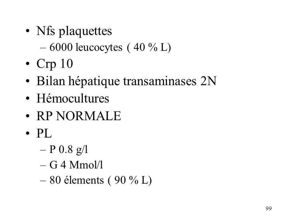 Bilan hépatique transaminases 2N Hémocultures RP NORMALE PL