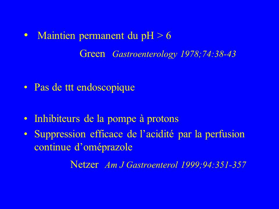 Maintien permanent du pH > 6