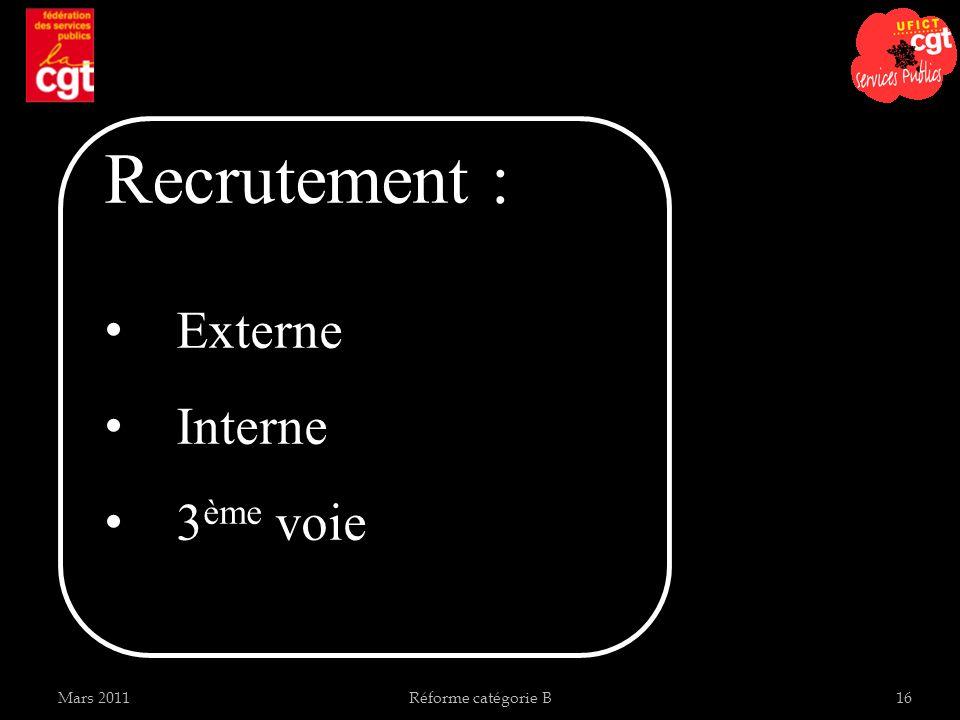 Recrutement : Externe Interne 3ème voie Mars 2011 Réforme catégorie B