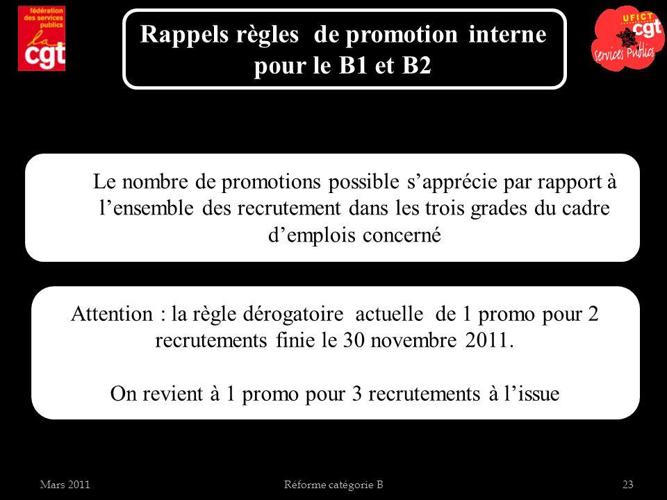 Rappels règles de promotion interne