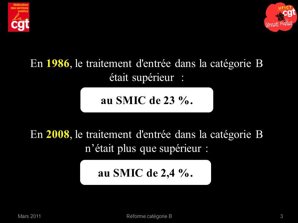 En 1986, le traitement d entrée dans la catégorie B était supérieur :