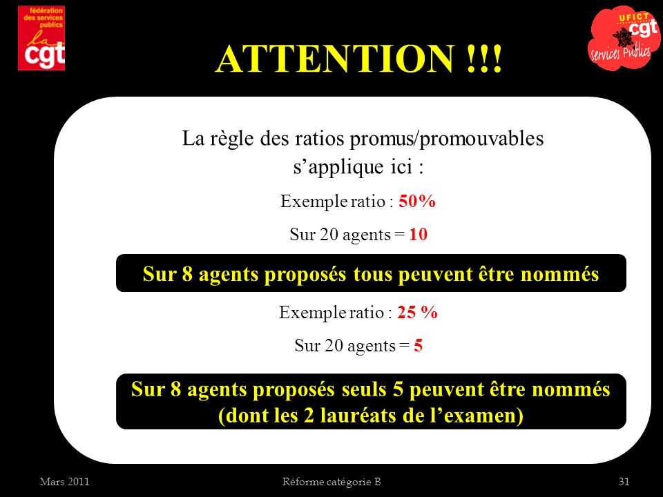 ATTENTION !!! La règle des ratios promus/promouvables s'applique ici :