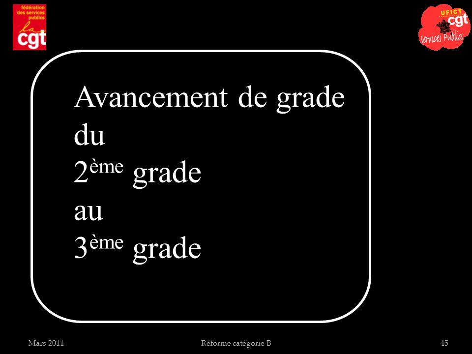 Avancement de grade du 2ème grade au 3ème grade Mars 2011