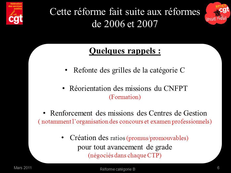 Cette réforme fait suite aux réformes de 2006 et 2007