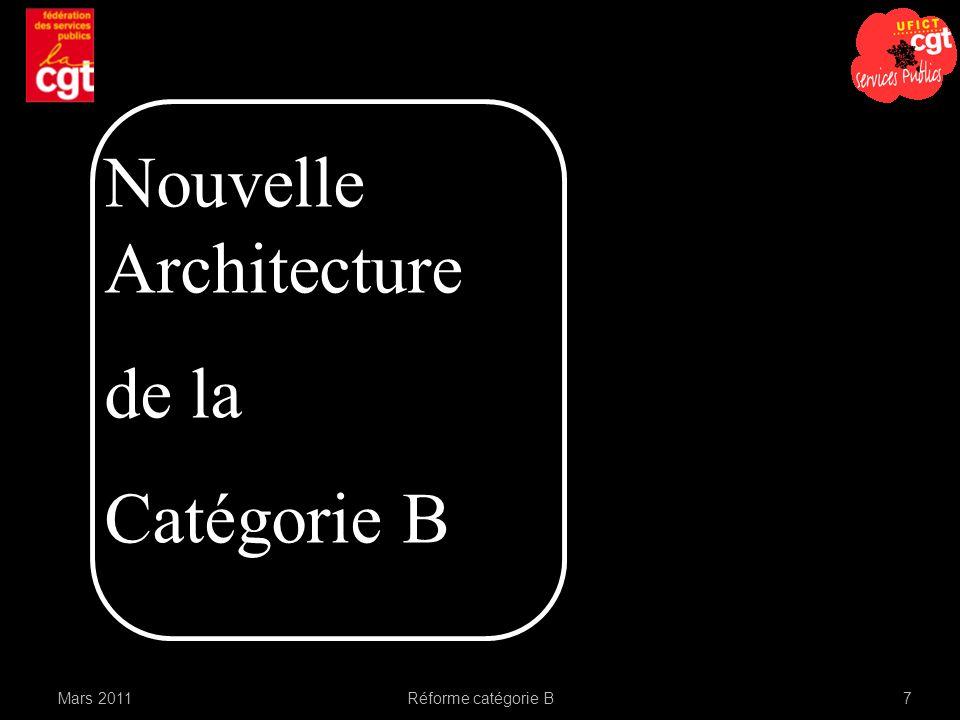 Nouvelle Architecture de la Catégorie B Mars 2011 Réforme catégorie B