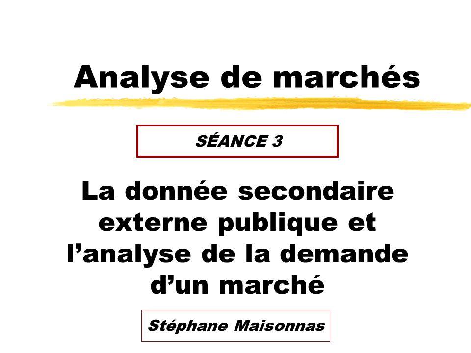 Analyse de marchés SÉANCE 3. La donnée secondaire externe publique et l'analyse de la demande d'un marché.