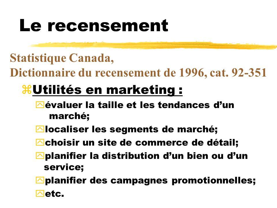 Le recensement Statistique Canada, Dictionnaire du recensement de 1996, cat. 92-351. Utilités en marketing :