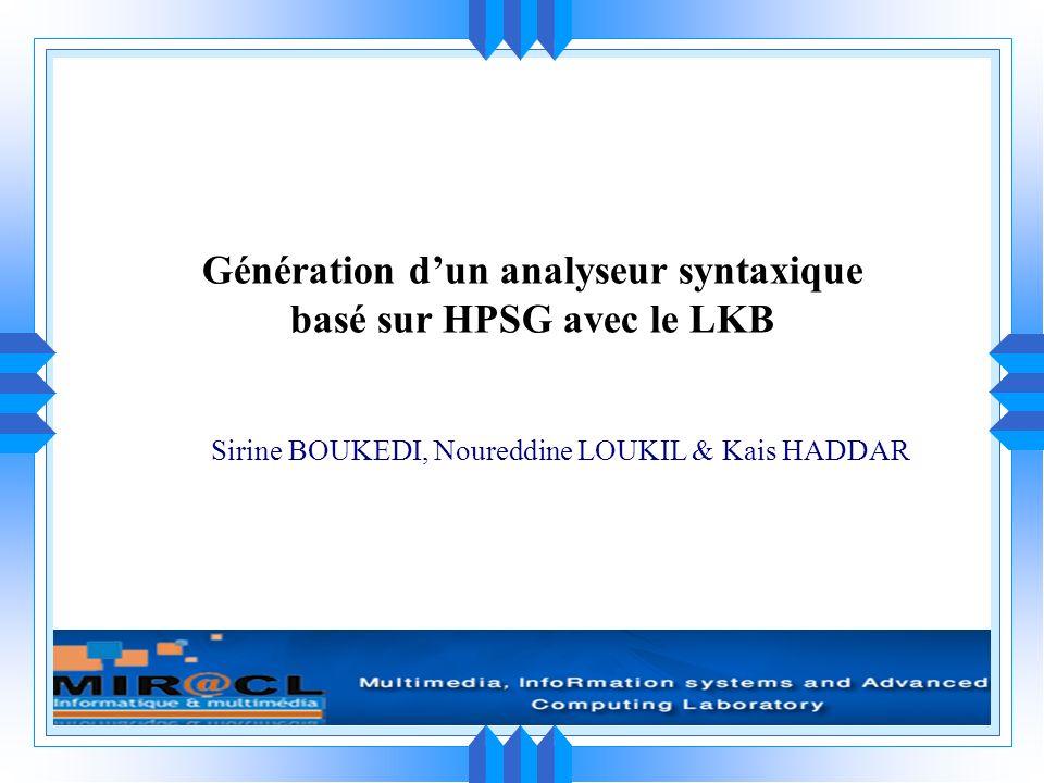 Génération d'un analyseur syntaxique basé sur HPSG avec le LKB