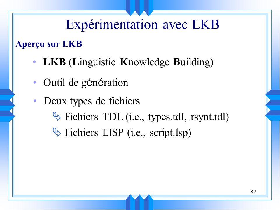 Expérimentation avec LKB