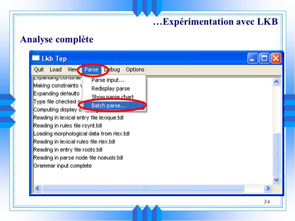 …Expérimentation avec LKB
