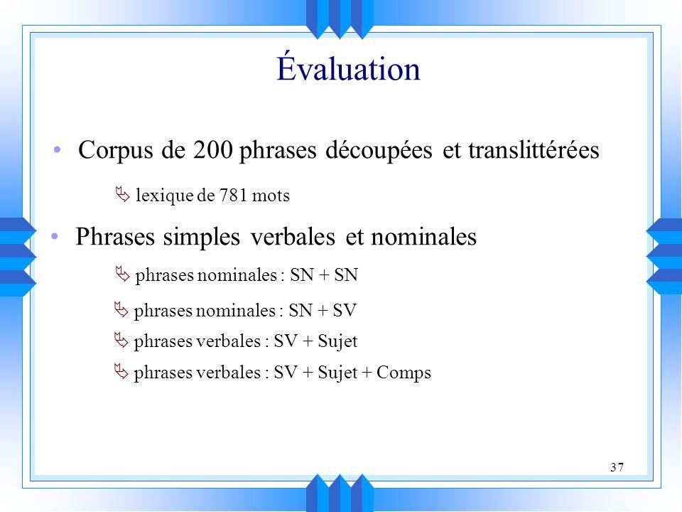 Évaluation Corpus de 200 phrases découpées et translittérées