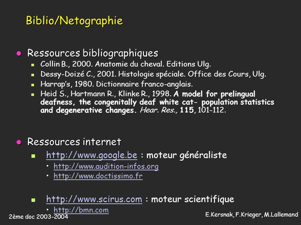 Biblio/Netographie Ressources bibliographiques Ressources internet