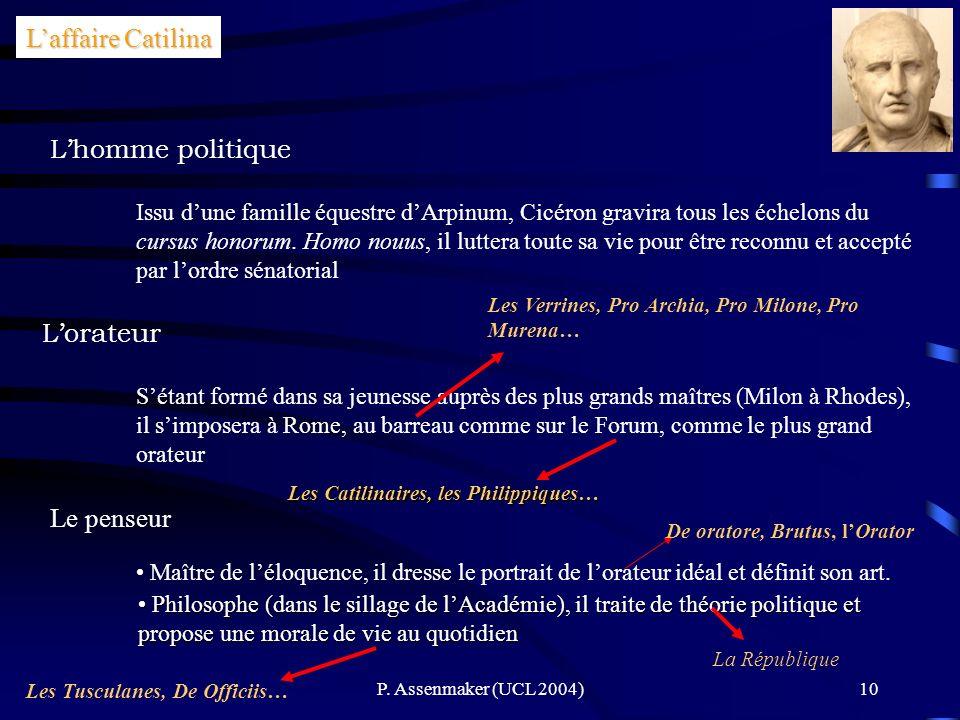 L'affaire Catilina L'homme politique L'orateur Le penseur