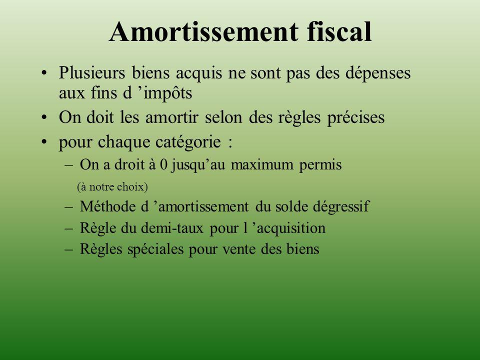 Amortissement fiscal Plusieurs biens acquis ne sont pas des dépenses aux fins d 'impôts. On doit les amortir selon des règles précises.
