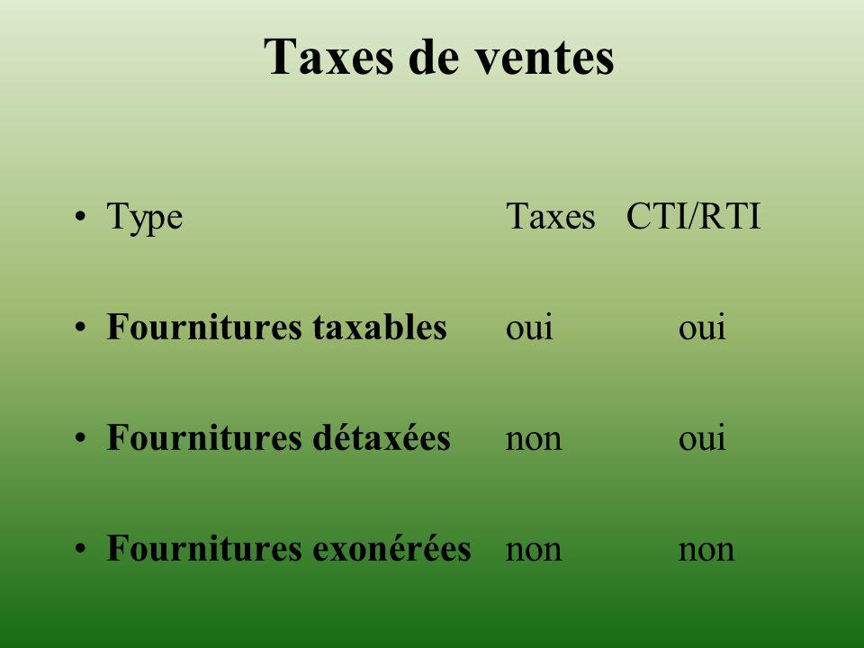 Taxes de ventes Type Taxes CTI/RTI Fournitures taxables oui oui