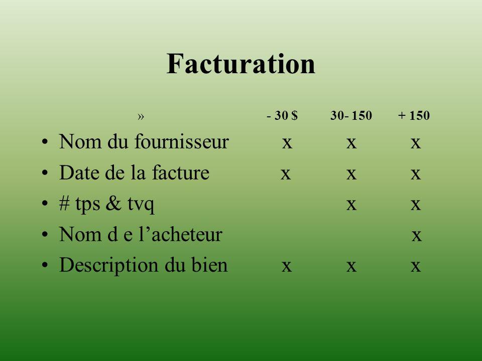 Facturation Nom du fournisseur x x x Date de la facture x x x