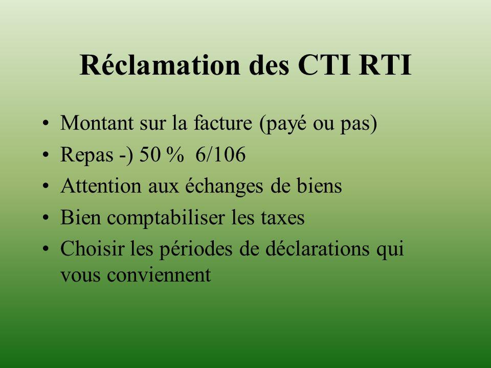 Réclamation des CTI RTI