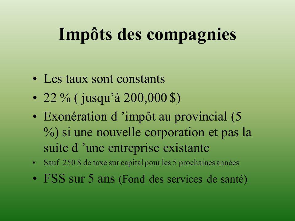 Impôts des compagnies Les taux sont constants