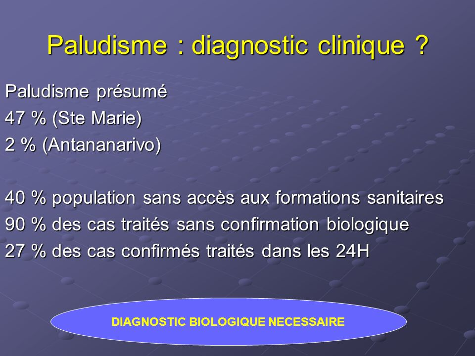 Paludisme : diagnostic clinique