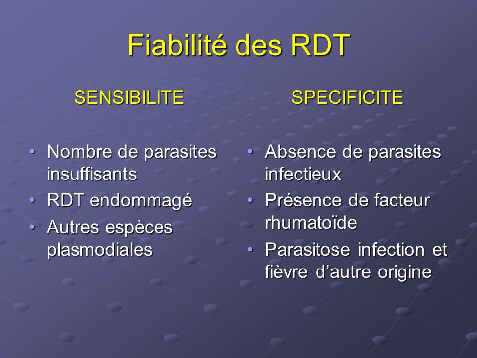 Fiabilité des RDT SENSIBILITE Nombre de parasites insuffisants