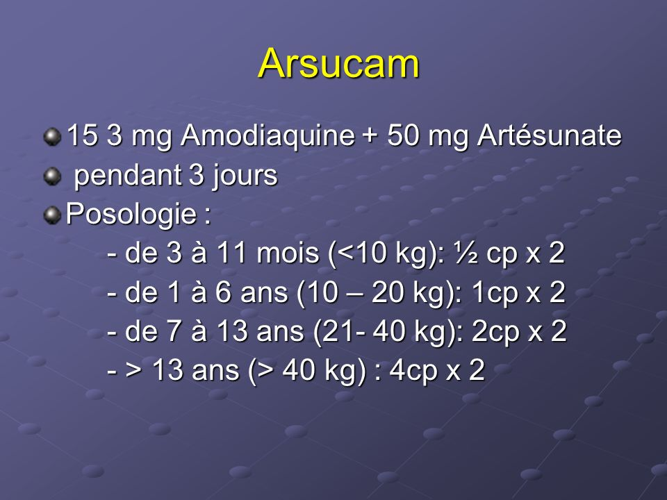 Arsucam 15 3 mg Amodiaquine + 50 mg Artésunate pendant 3 jours