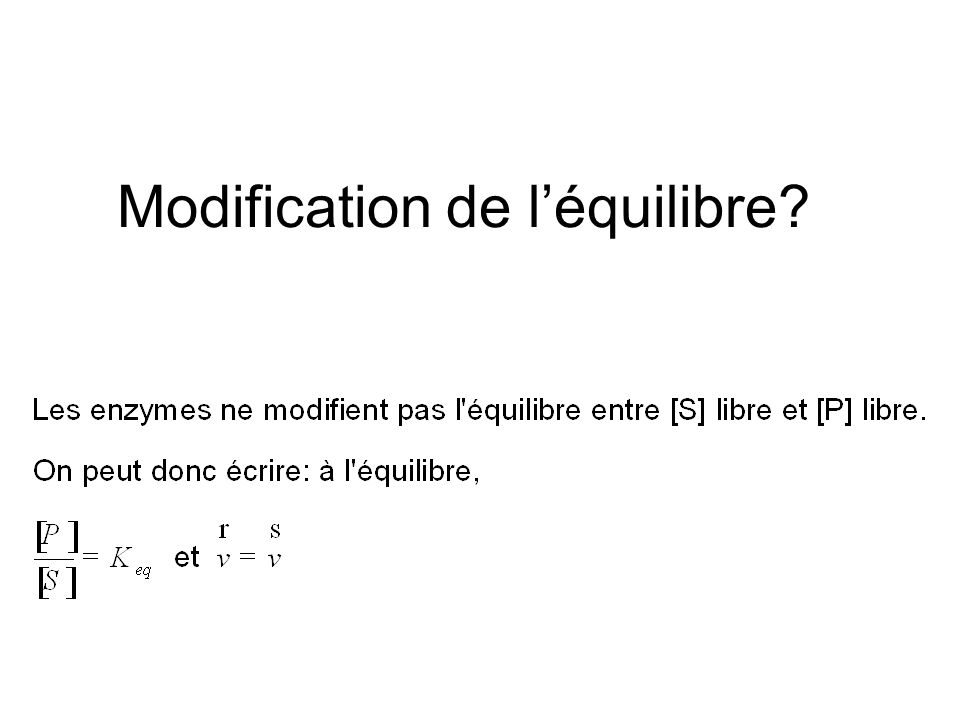 Modification de l'équilibre