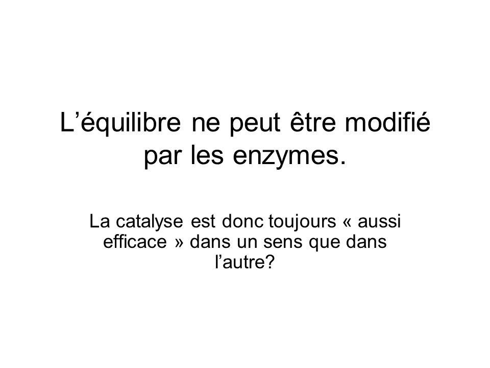 L'équilibre ne peut être modifié par les enzymes.