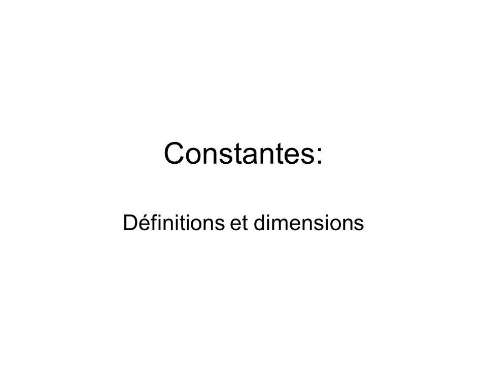 Définitions et dimensions