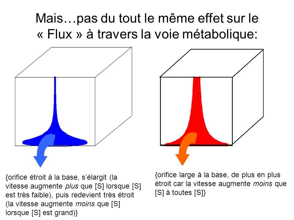 Mais…pas du tout le même effet sur le « Flux » à travers la voie métabolique: