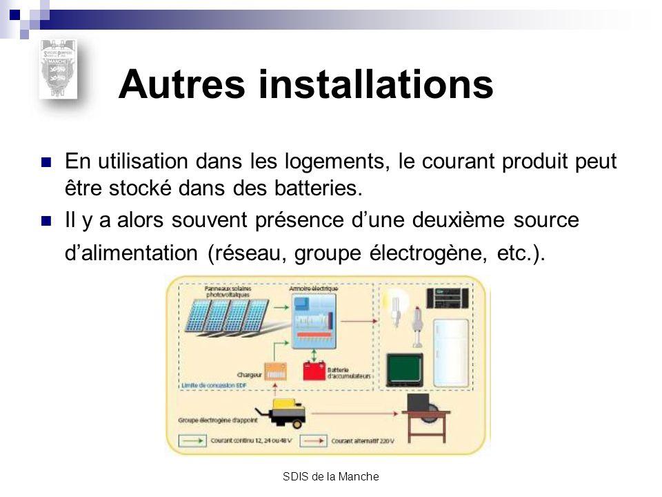 Autres installations En utilisation dans les logements, le courant produit peut être stocké dans des batteries.