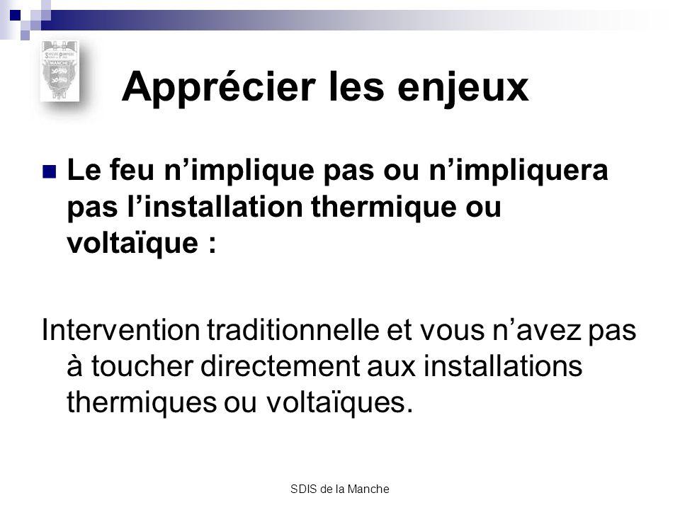 Apprécier les enjeux Le feu n'implique pas ou n'impliquera pas l'installation thermique ou voltaïque :