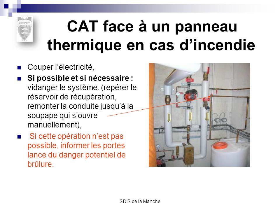 CAT face à un panneau thermique en cas d'incendie