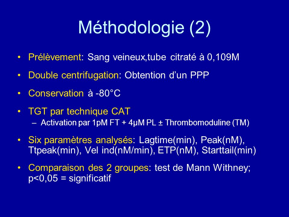 Méthodologie (2) Prélèvement: Sang veineux,tube citraté à 0,109M