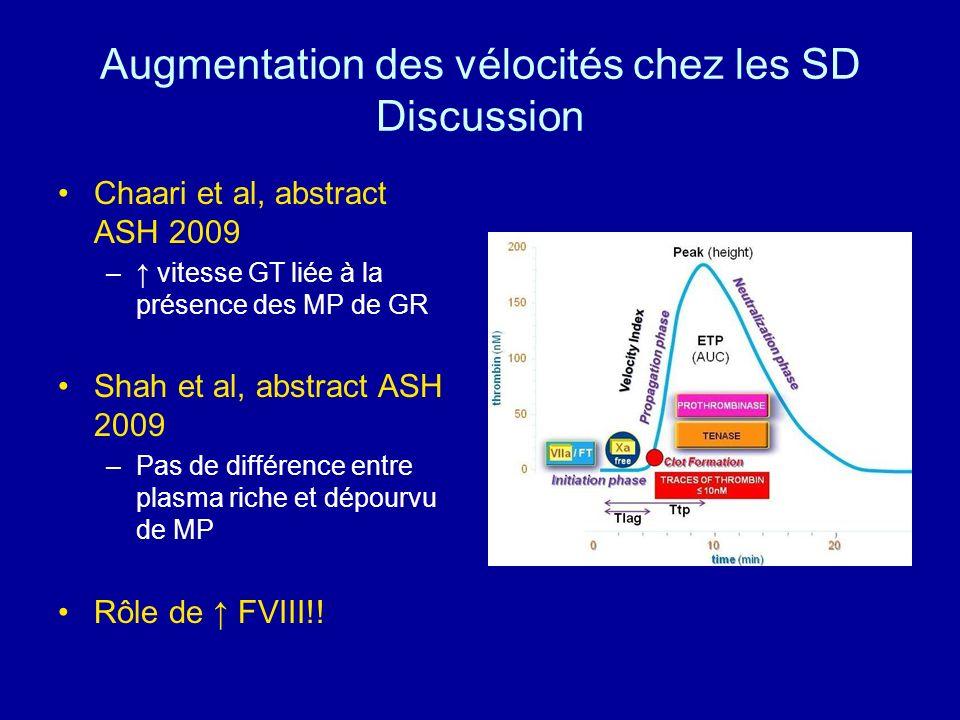 Augmentation des vélocités chez les SD Discussion
