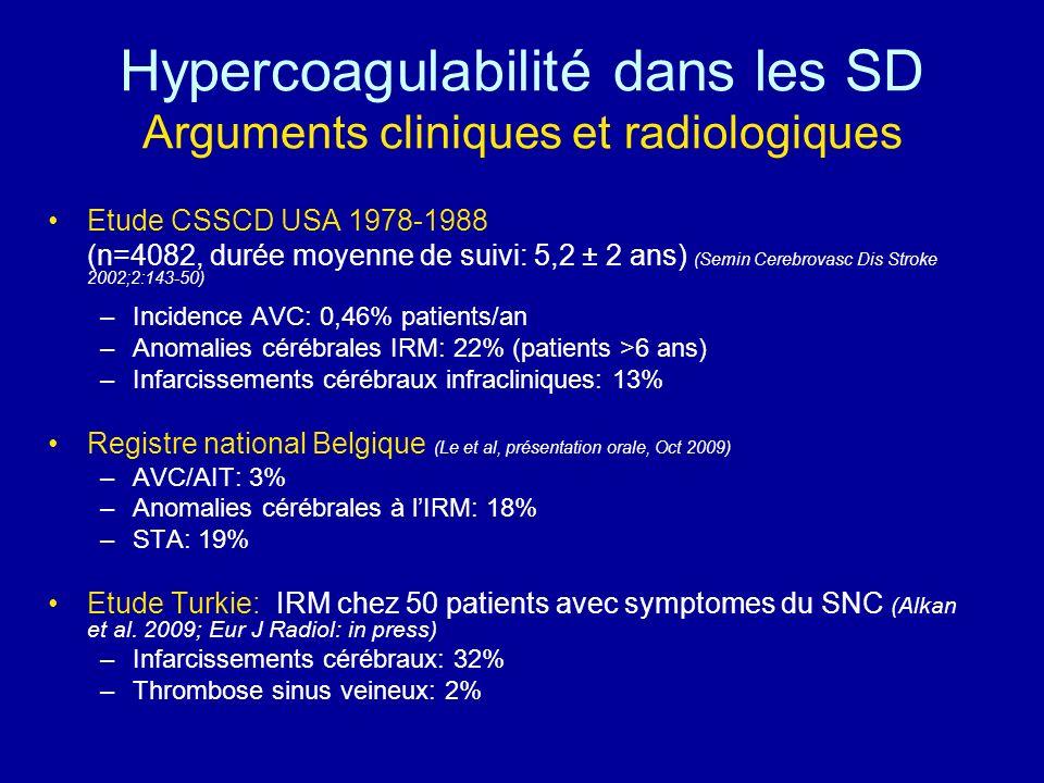 Hypercoagulabilité dans les SD Arguments cliniques et radiologiques