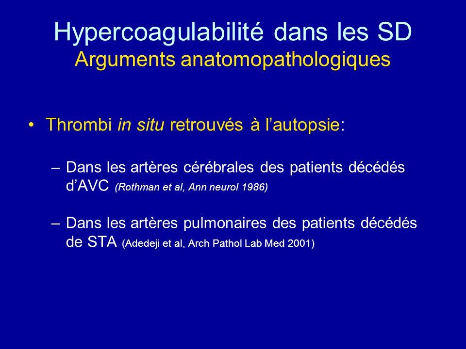 Hypercoagulabilité dans les SD Arguments anatomopathologiques