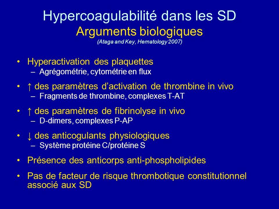 Hypercoagulabilité dans les SD Arguments biologiques (Ataga and Key, Hematology 2007)