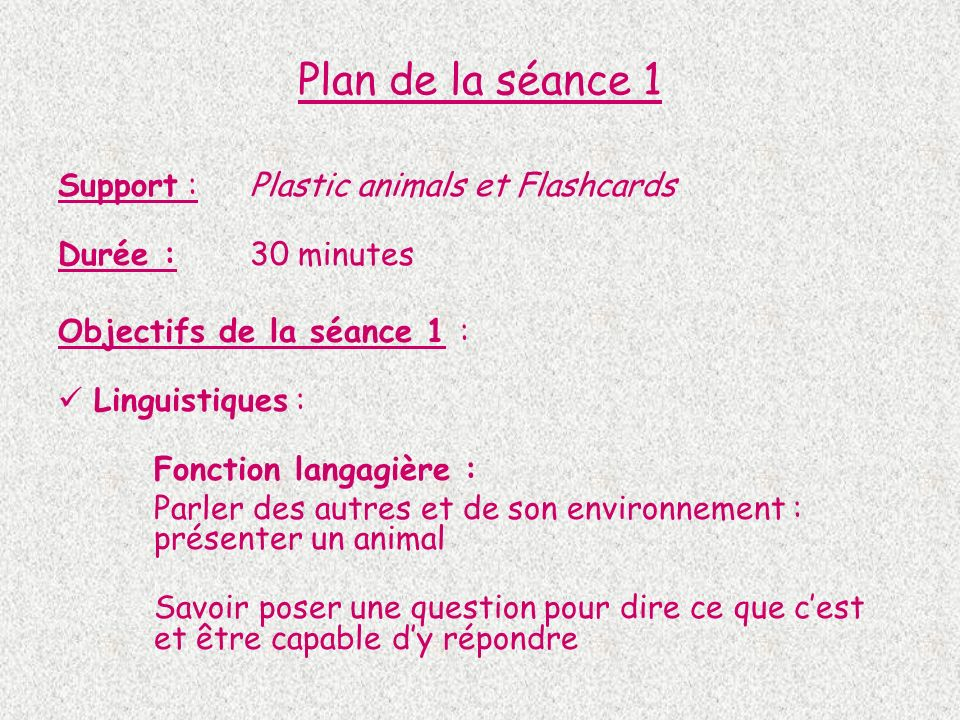 Plan de la séance 1 Support : Plastic animals et Flashcards